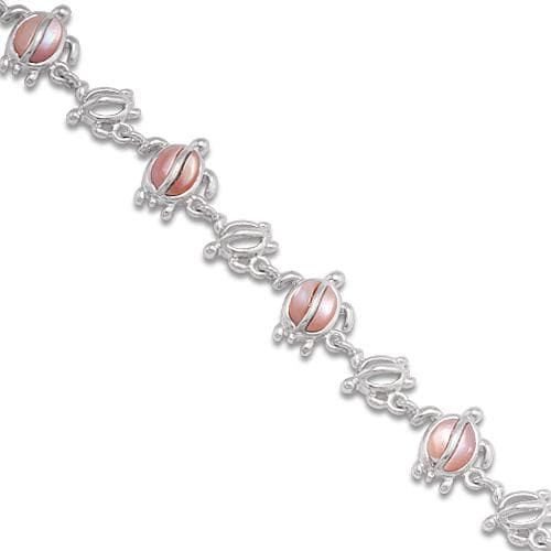 Honu (Turtle) Mother of Pearl Bracelet in Sterling Silver-[SKU]