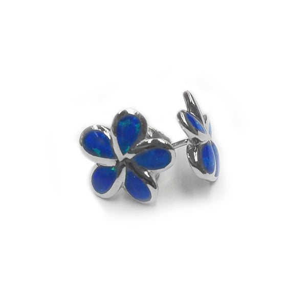 Plumeria Opal Earrings in Sterling Silver - 093-03051