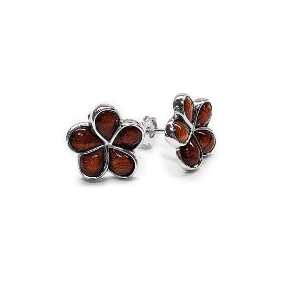 Koa Plumeria Earrings in Sterling Silver-[SKU]