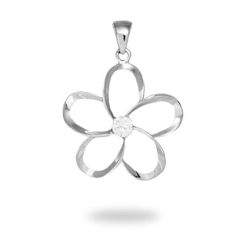 Plumeria Pendant in Sterling Silver with Cubic Zirconia
