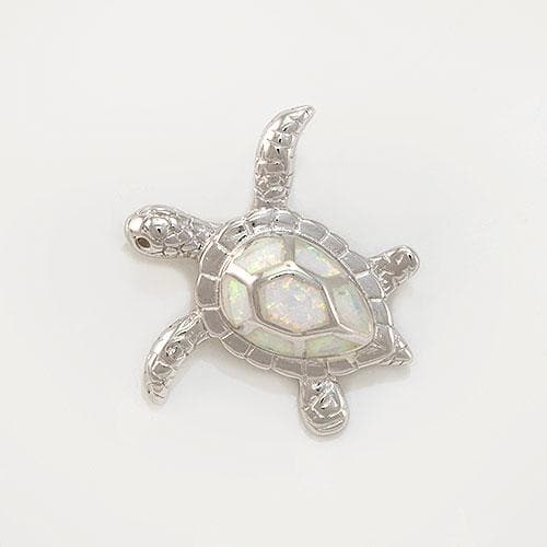 Honu (Turtle) Pendant in Sterling Silver with  Opal