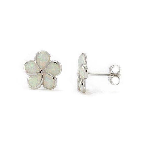 Plumeria Opal Earrings in Sterling Silver l-093-04907