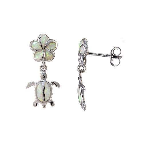 Plumeria and Honu Opal Earrings in Sterling Silver l-093-04913