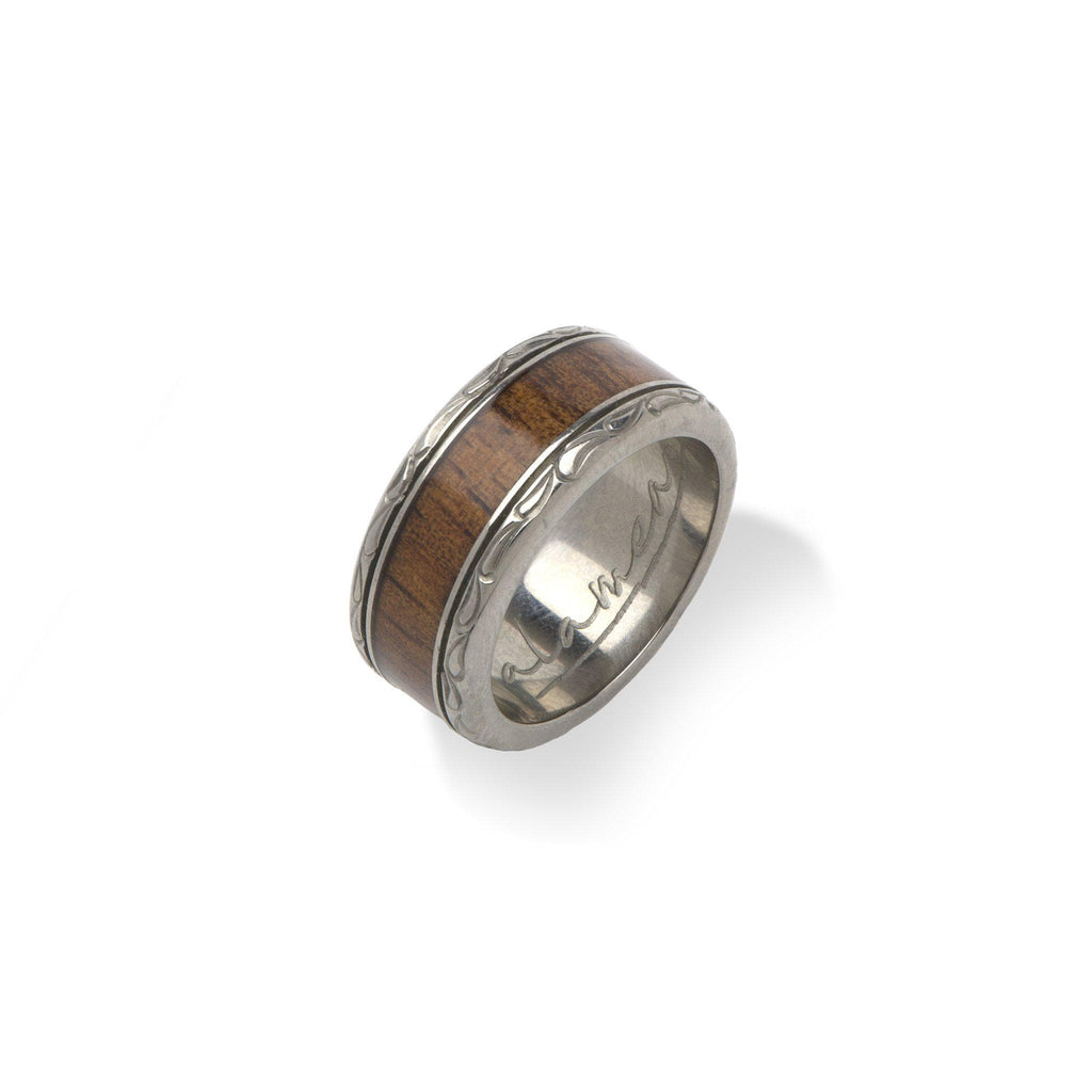8mm Koa Ring in Titanium - Size 5-[SKU]