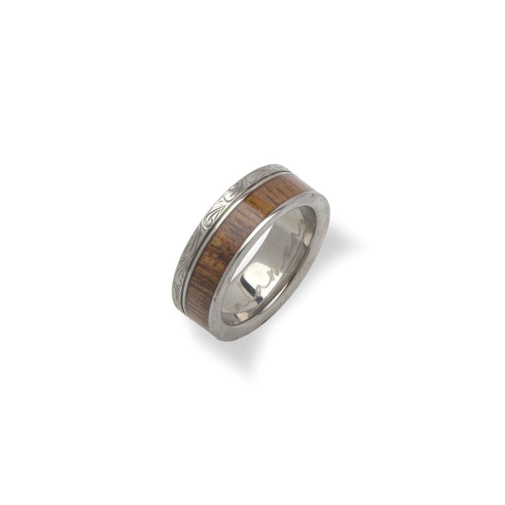 6mm Koa Ring in Titanium - Size 5-[SKU]