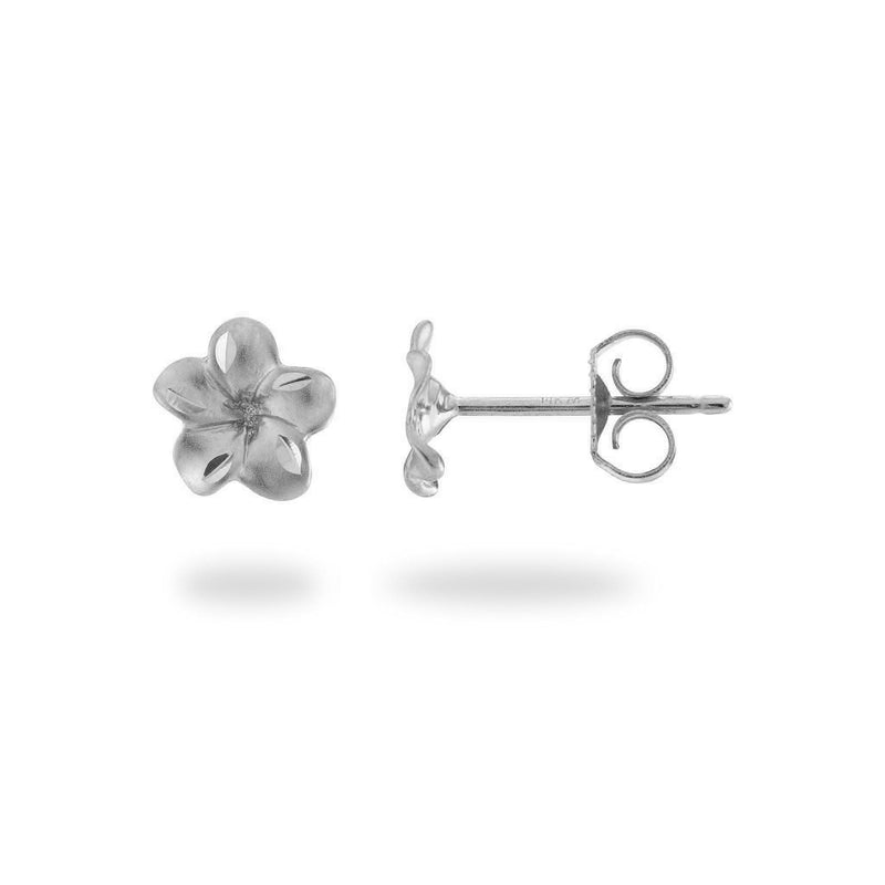 Plumeria Earrings in White Gold - 7mm