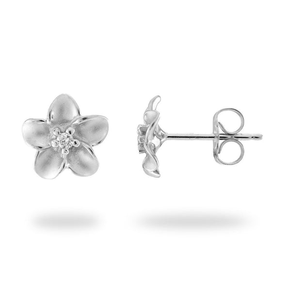 Plumeria Earrings in White Gold with Diamonds - 9mm-Maui Divers Jewelry