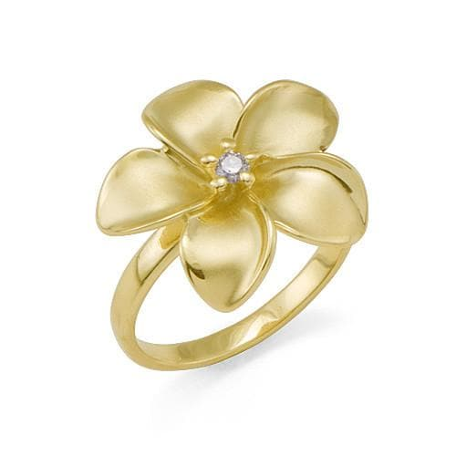 Plumeria Ring with Diamond in 14K Yellow Gold - 18mm