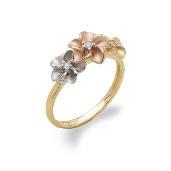 Plumeria Ring in Tri Color Gold with Diamonds - 8mm-Maui Divers Jewelry