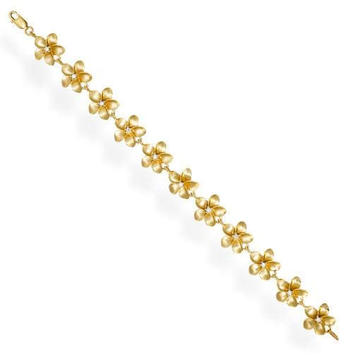 Plumeria Bracelet with Diamonds in 14K Yellow Gold - 13mm