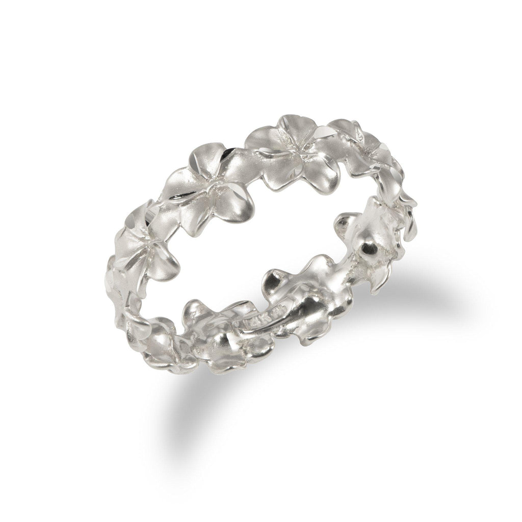 Plumeria Eternity Ring in 14K White Gold - 7mm