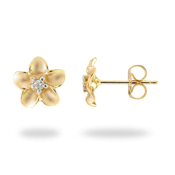 Plumeria Earrings in Gold with Diamonds - 9mm-Maui Divers Jewelry