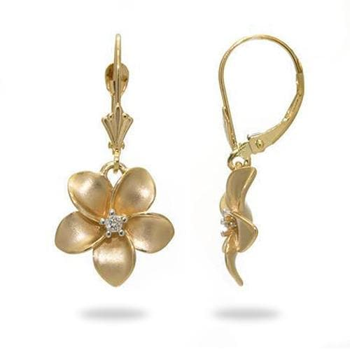 Plumeria Earrings in Gold with Diamonds - 13mm-Maui Divers Jewelry