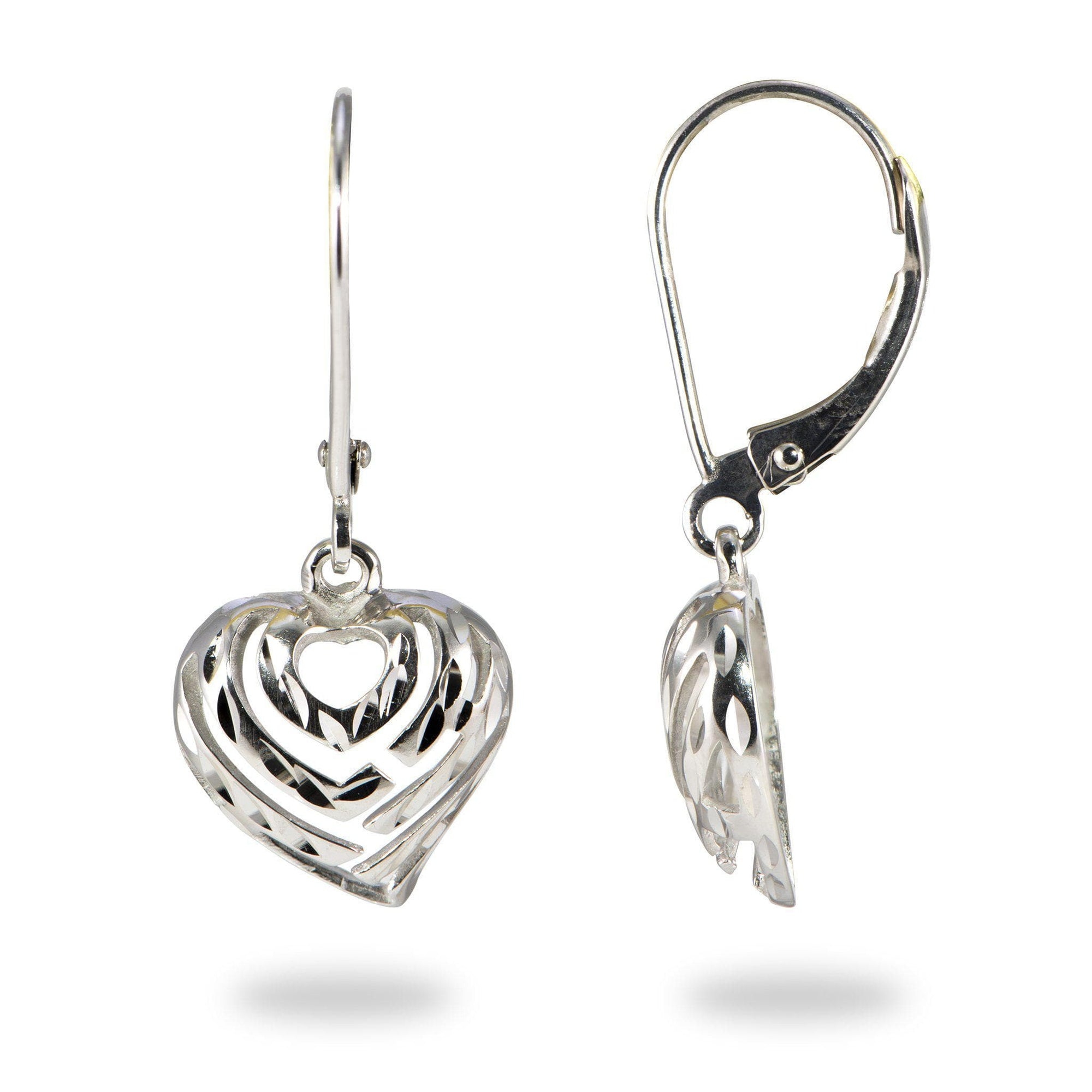 Aloha Heart Earrings in Sterling Silver - 18mm-[SKU]
