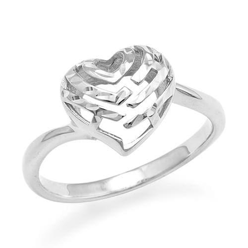 Aloha Heart Ring in 14K White Gold - 11mm