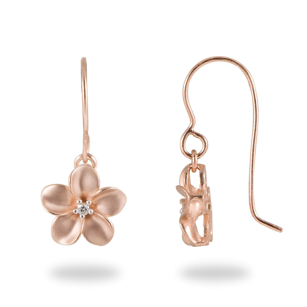 Plumeria Earrings in Rose Gold with Diamonds - 11mm-[SKU]