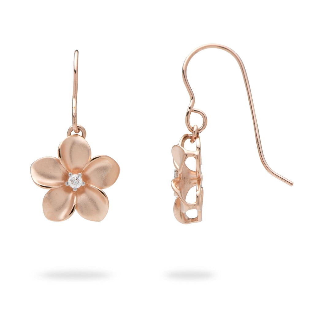 Plumeria Earrings with Diamonds in 14K Rose Gold - 13mm - Maui Divers Jewelry
