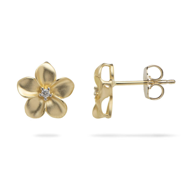 Plumeria Earrings in Gold with Diamonds - 11mm-Maui Divers Jewelry