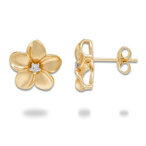 Plumeria Earrings in Gold with Diamonds - 13mm