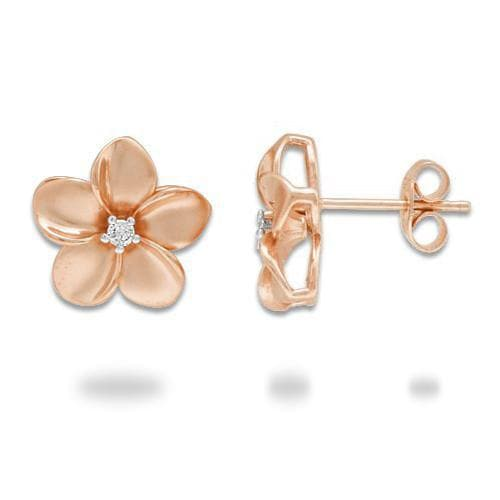 Plumeria Earrings in Rose Gold with Diamond - 13mm