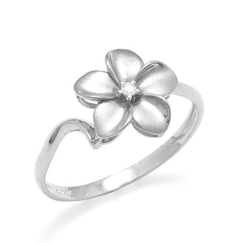 Plumeria Ring with Diamond in 14K White Gold - 11mm