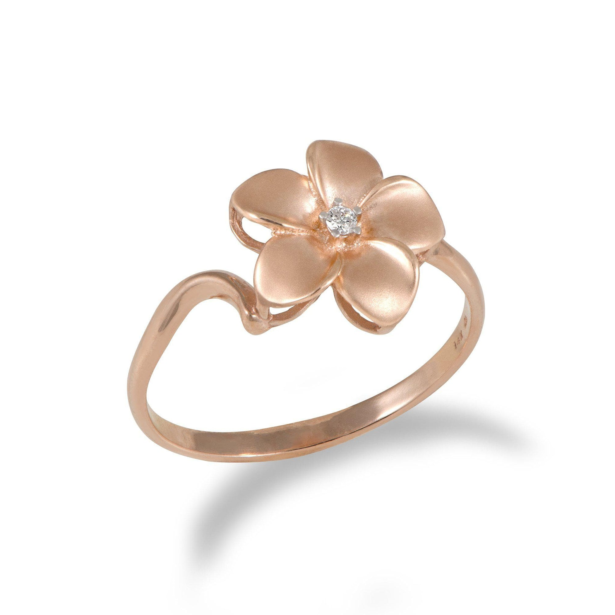 Plumeria Ring with Diamond in 14K Rose Gold - 11mm - Maui Divers Jewelry