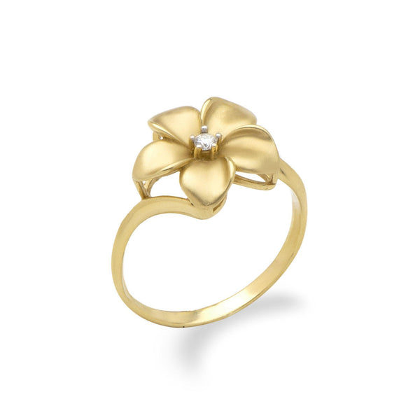 Plumeria Ring in Gold with Diamond - 13mm-Maui Divers Jewelry
