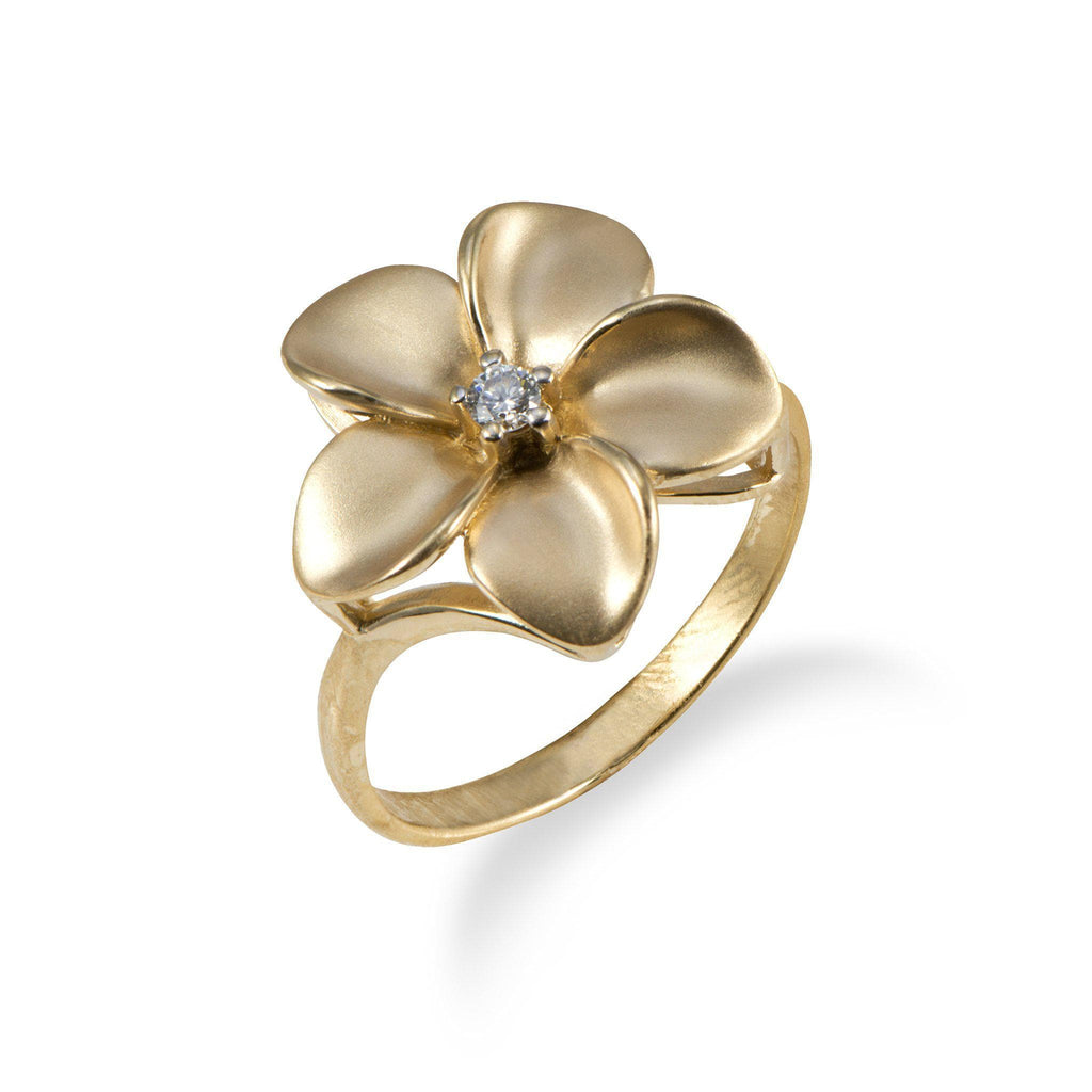 Plumeria Ring with Diamond in 14K Yellow Gold - 16mm