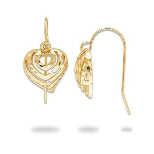 Aloha Heart Earrings in 14K Yellow Gold - 11mm
