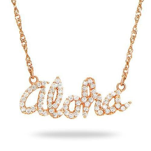 Aloha Necklace with Diamonds in 14K Rose Gold - Small