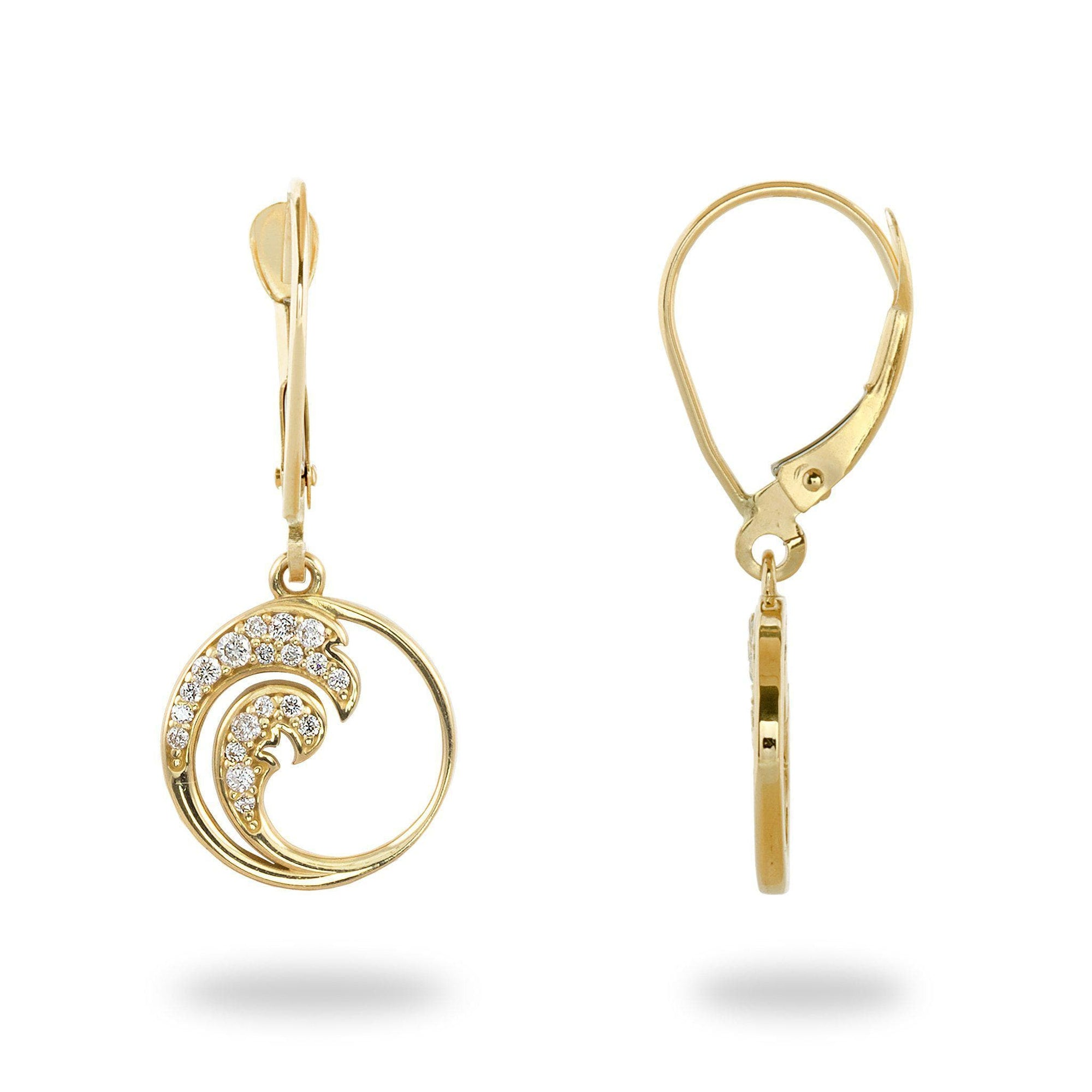 Nalu Earrings in Gold with Diamonds - 12mm-[SKU]