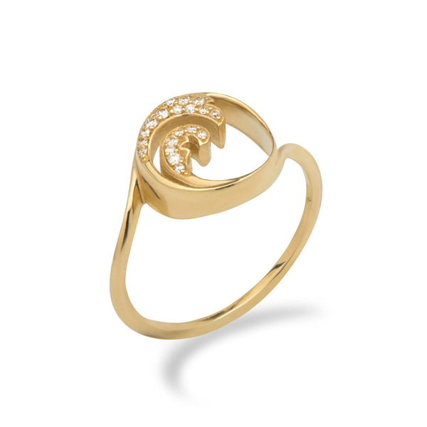 Nalu Ring in Gold with Diamonds - 12mm - Maui Divers Jewelry