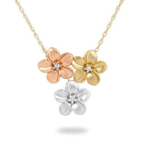 Plumeria Necklace with Diamonds in 14K Tri-Color Gold - 11mm