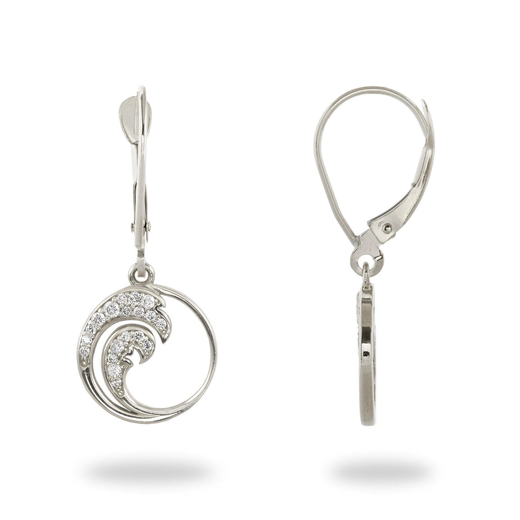 Nalu Earrings with Diamonds in 14K White Gold - 12mm