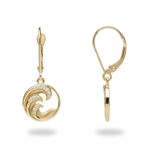 Nalu Earrings in Gold with Diamonds - 28mm - Maui Divers Jewelry