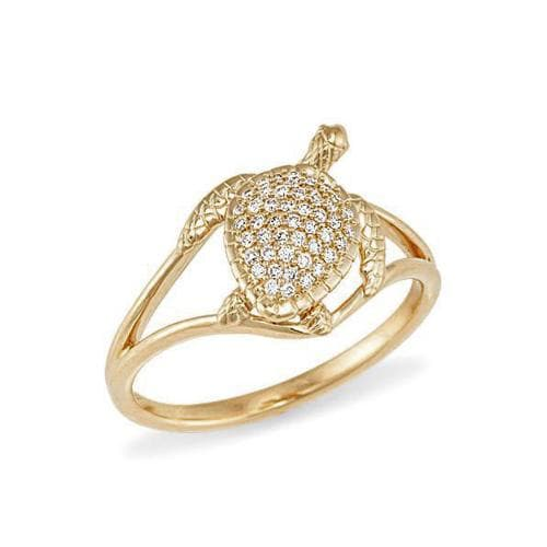 Turtle Ring with Diamonds in 14K Yellow Gold - 13mm