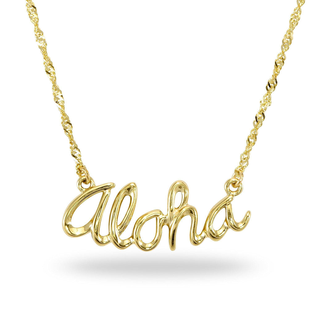 Aloha Necklace in 14K Yellow Gold - Maui Divers Jewelry