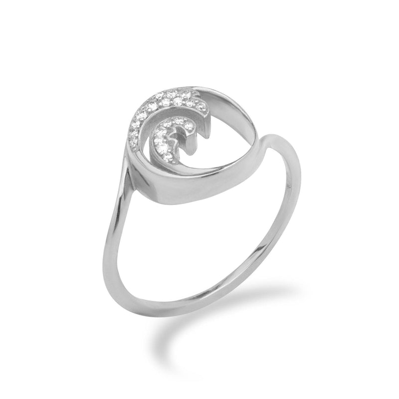 Nalu Ring in White Gold with Diamonds - 12mm-Maui Divers Jewelry