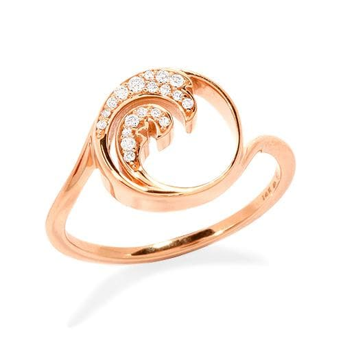 Nalu Ring with Diamonds in 14K Rose Gold - 12mm