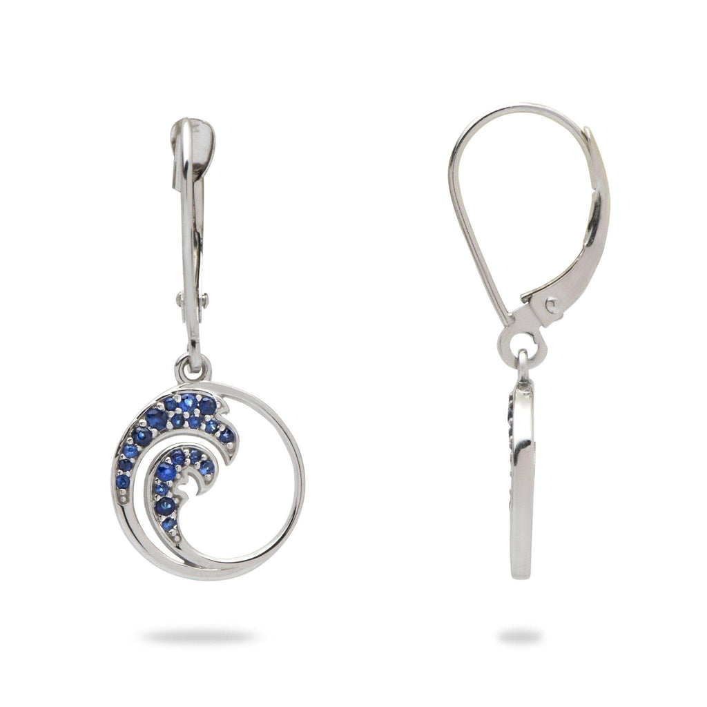 Nalu Earrings with Blue Sapphires in 14K White Gold - 12mm