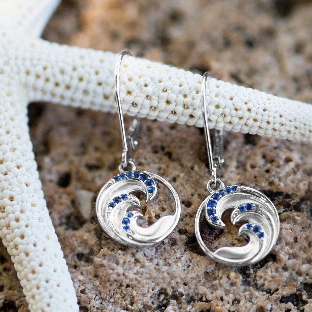 Nalu Earrings in White Gold with Blue Sapphires - 28mm-[SKU]