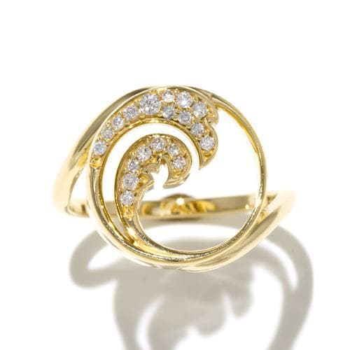 Nalu Ring with Diamonds in 14K Yellow Gold - 15mm