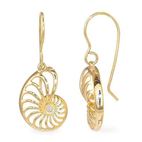 Nautilus Earrings with Diamonds in 14K Yellow Gold - 16mm