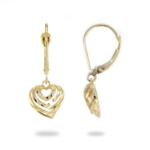 Aloha Heart Earrings in 14K Yellow Gold - 9mm
