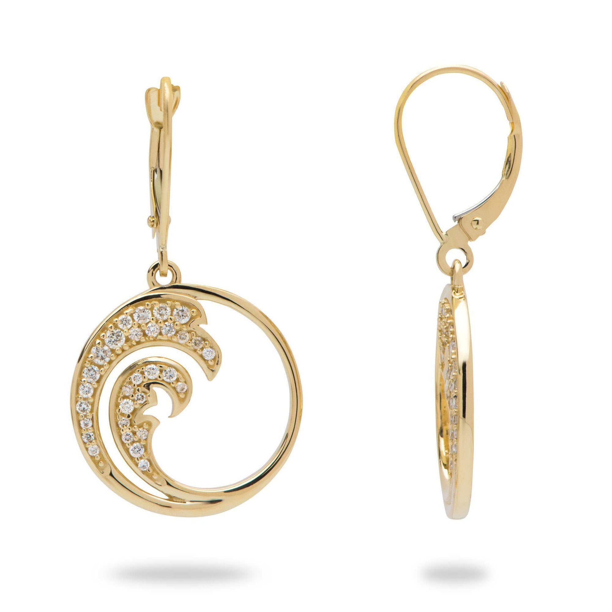 Nalu Earrings in Gold with Diamonds - 34mm-[SKU]