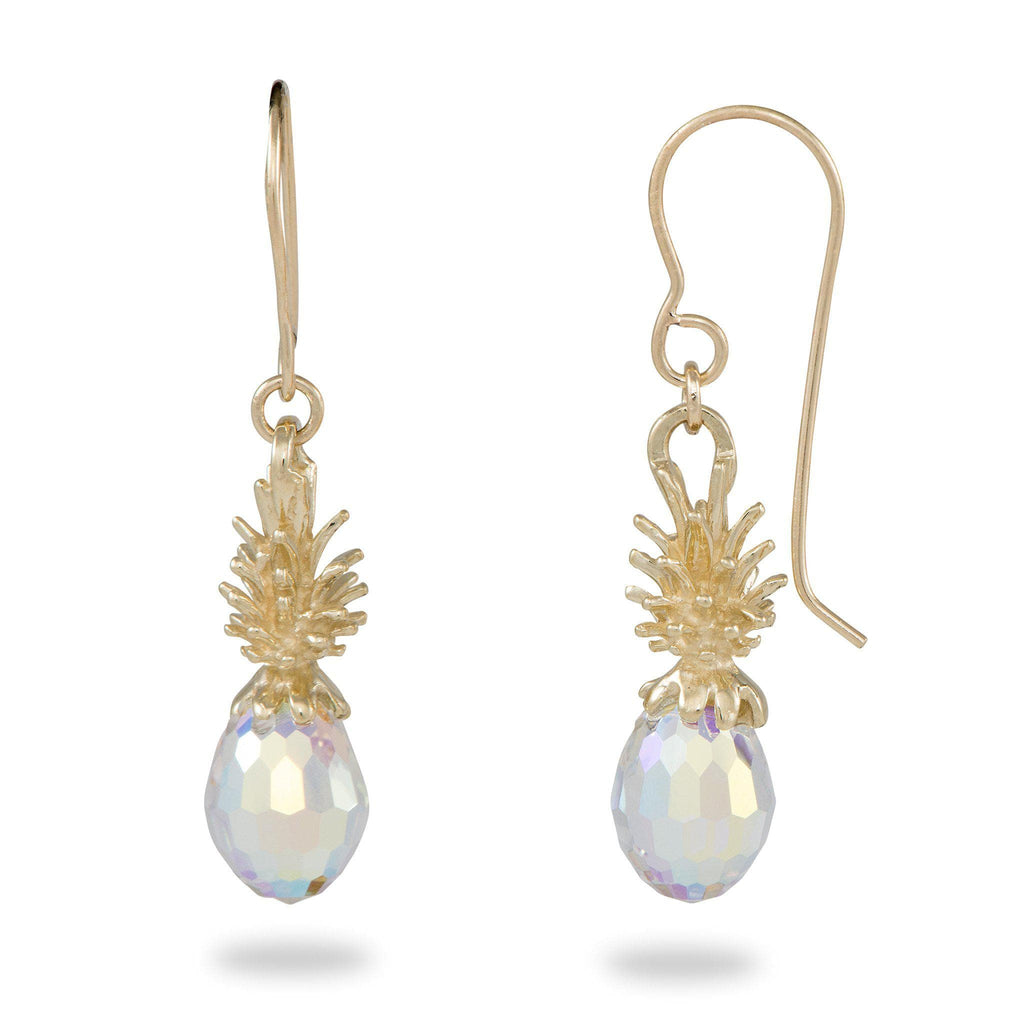 Crystal Pineapple Dangle Earrings in 14K Yellow Gold - Small-[SKU]