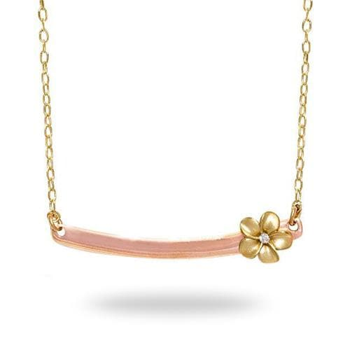 Plumeria Bar Necklace with Diamond in 14K Two-Tone Gold - 28mm