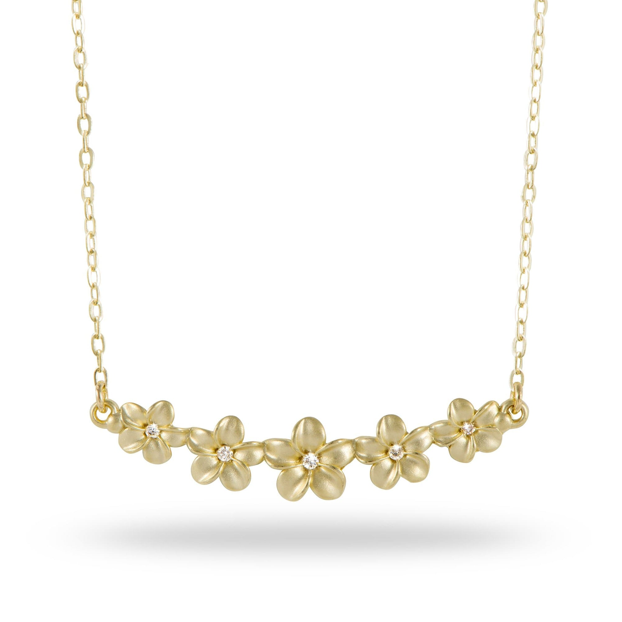 Plumeria Necklace with Diamonds in 14K Yellow Gold - Maui Divers Jewelry