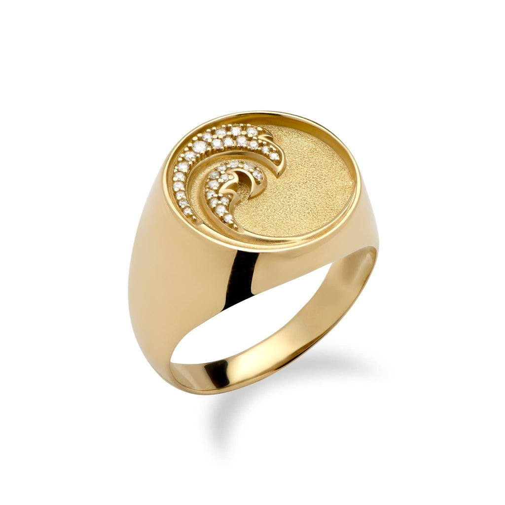 Nalu Ring in Gold with Diamonds - 18mm - Maui Divers Jewelry