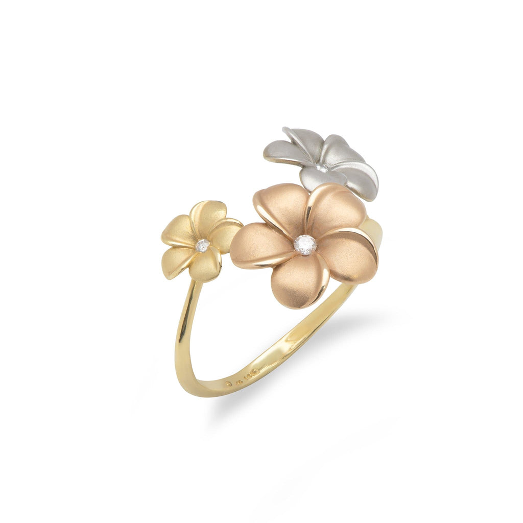 Plumeria Ring in Tri Color Gold with Diamonds - Maui Divers Jewelry